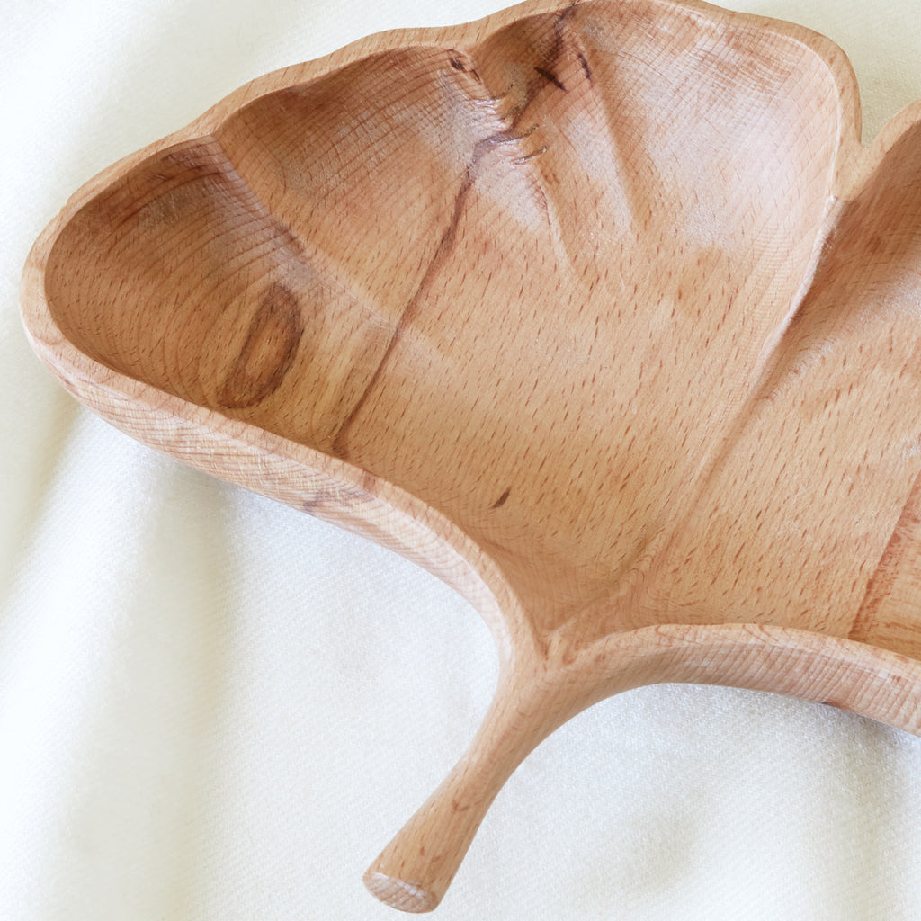 Gingko carved leaf bowl in beechwood