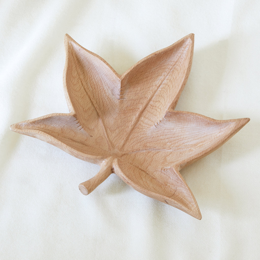 Sugar Gum carved leaf bowl in beechwood