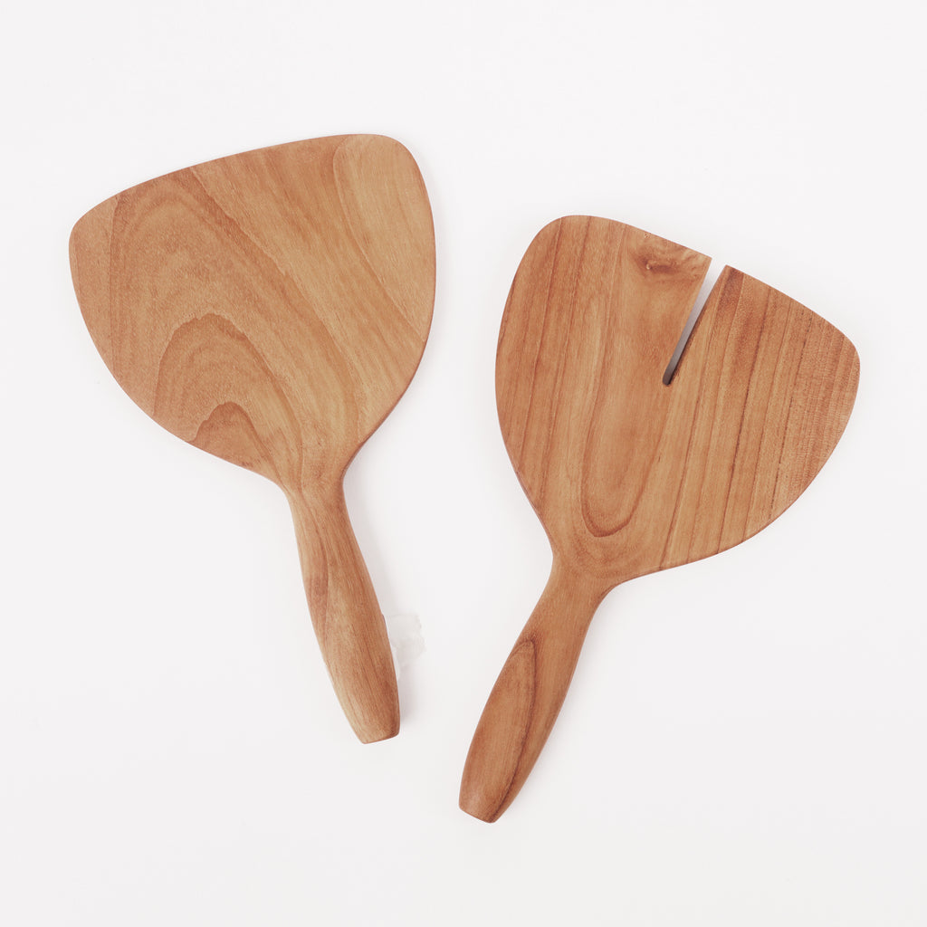 Teak salad serving set with short handles