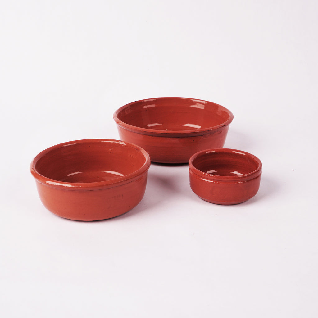 Set of 3 Mini Terra Cotta Bowls