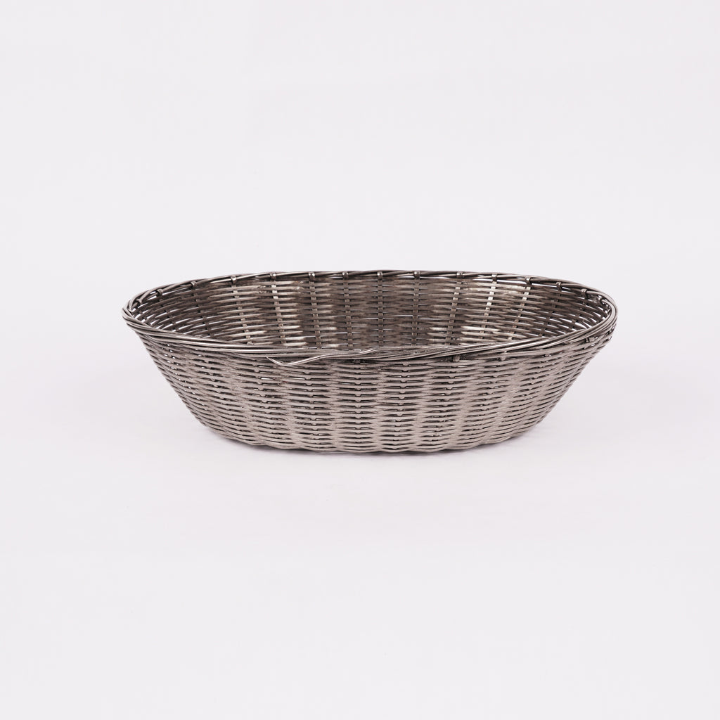 Silverplate oval metal basket, France c.1930