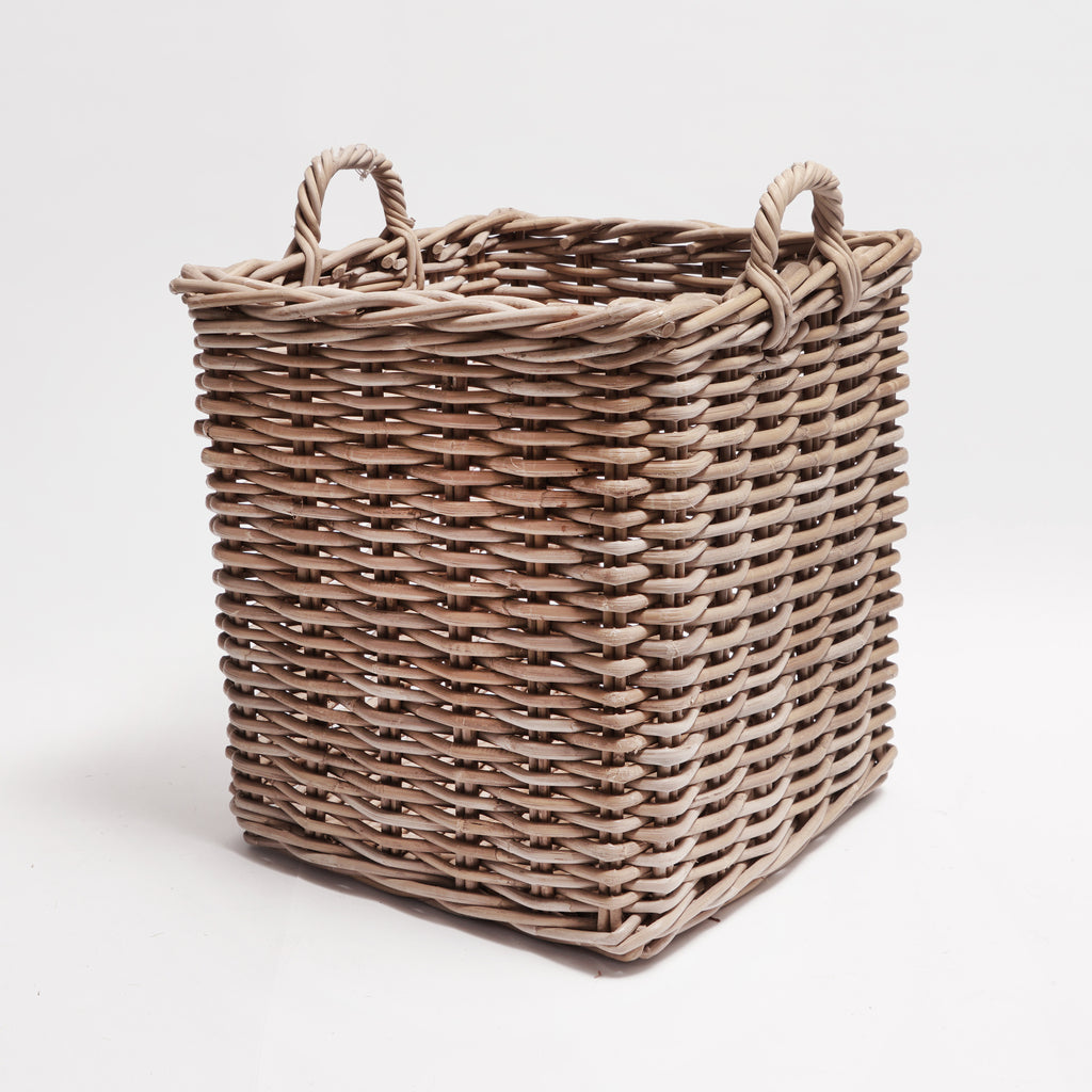 Square grey rattan basket extra large