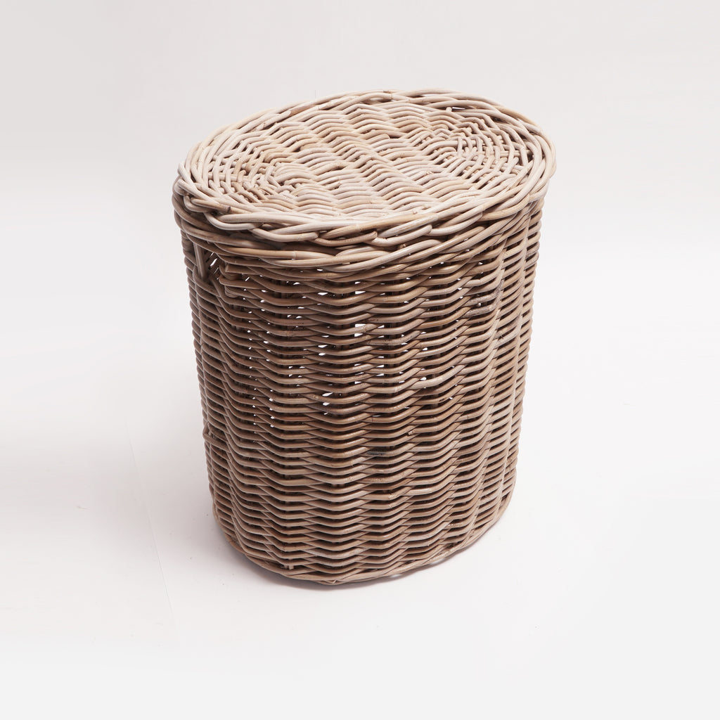"Oval Grey Willow Laundry Basket With Lid 14""X17""X19"""