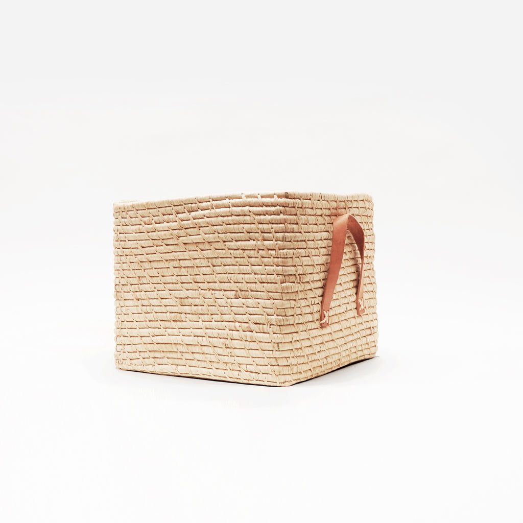 Small Square Basket with Leather handles in Raffia Natural