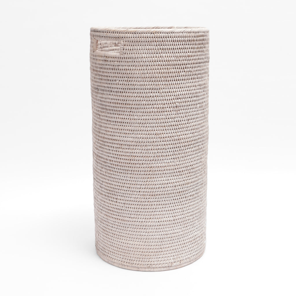 Whitewash round rattan umbrella stand