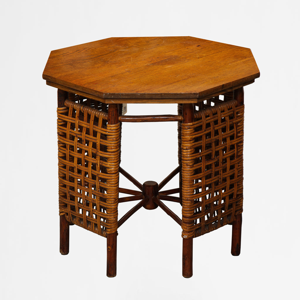 American oak & reed octagonal game table c.1930