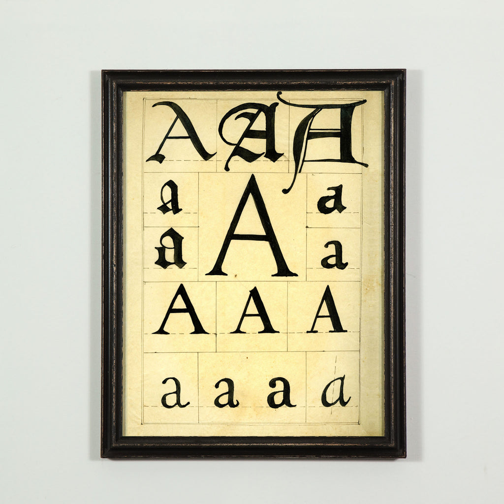Full alphabet, A-Z, framed typograhy prints