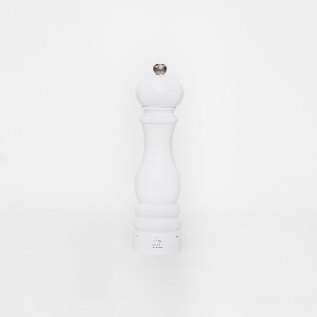 White lacquer pepper mill with U-select mechanism