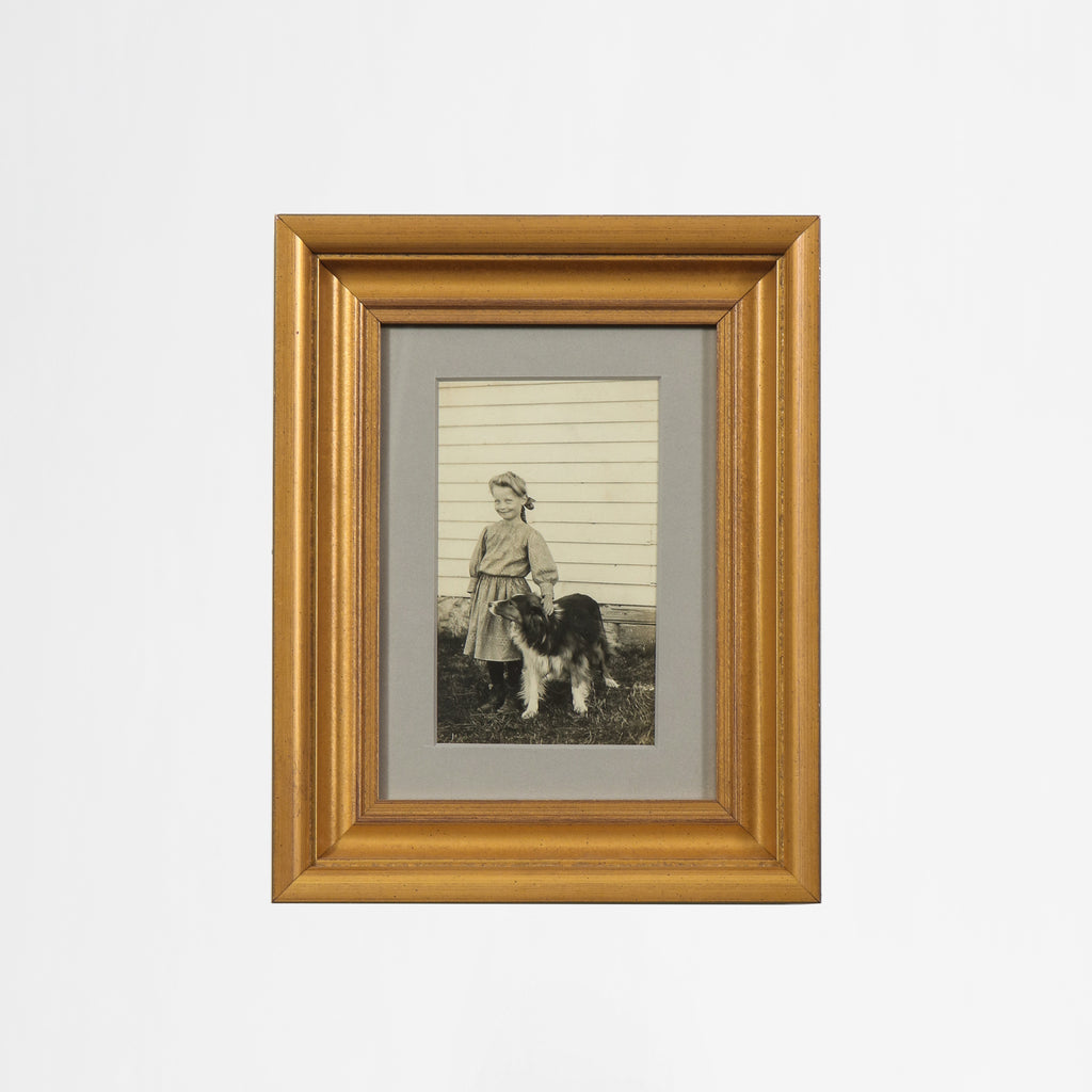 Antique girl with collie photograph