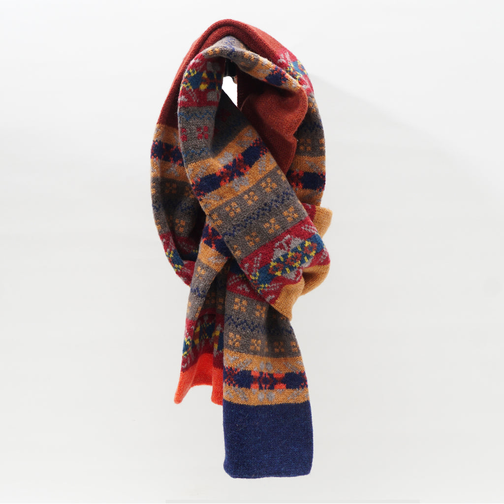 Knit merino fair isle scarves from Scotland