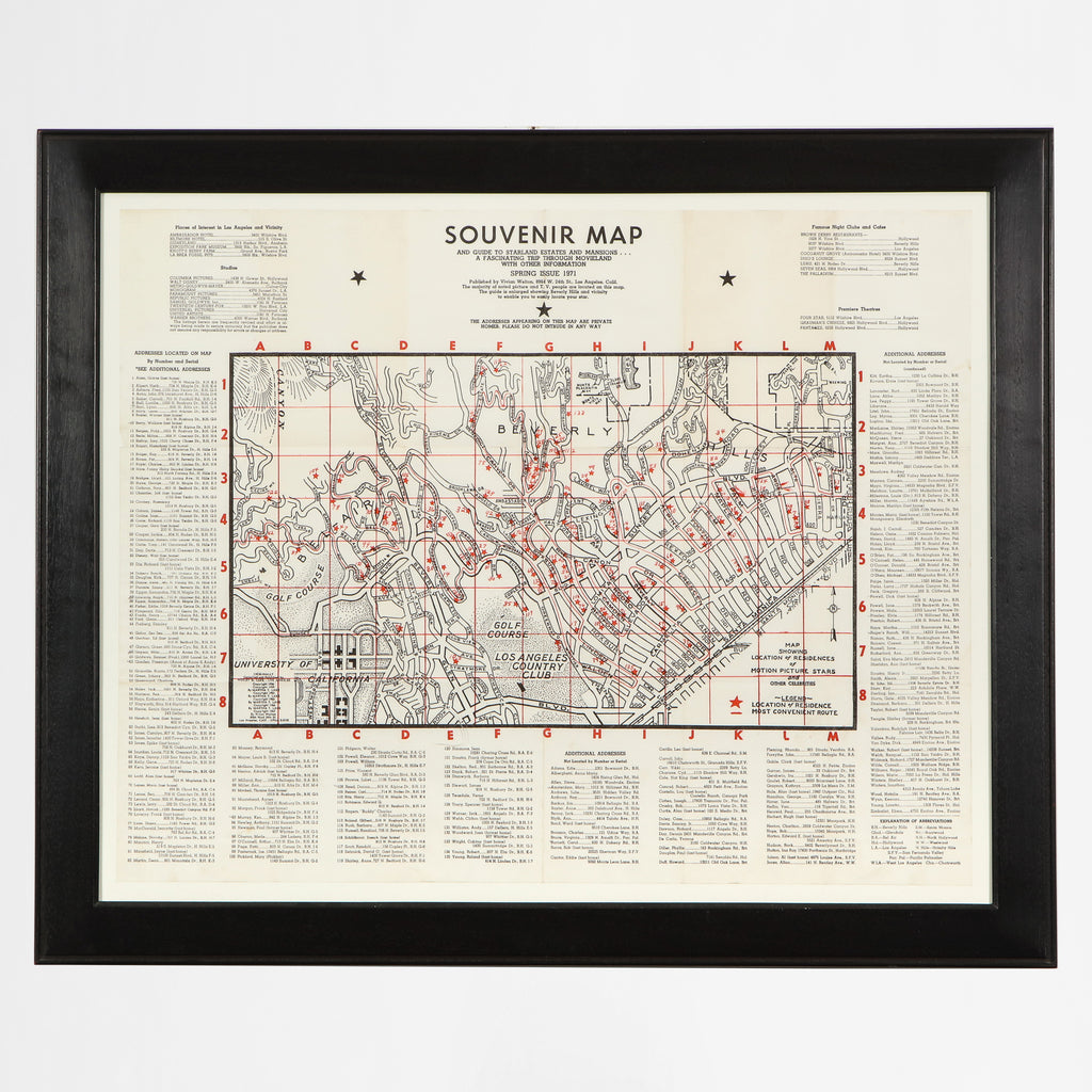 Framed Souvenir Map of the Stars c.1971