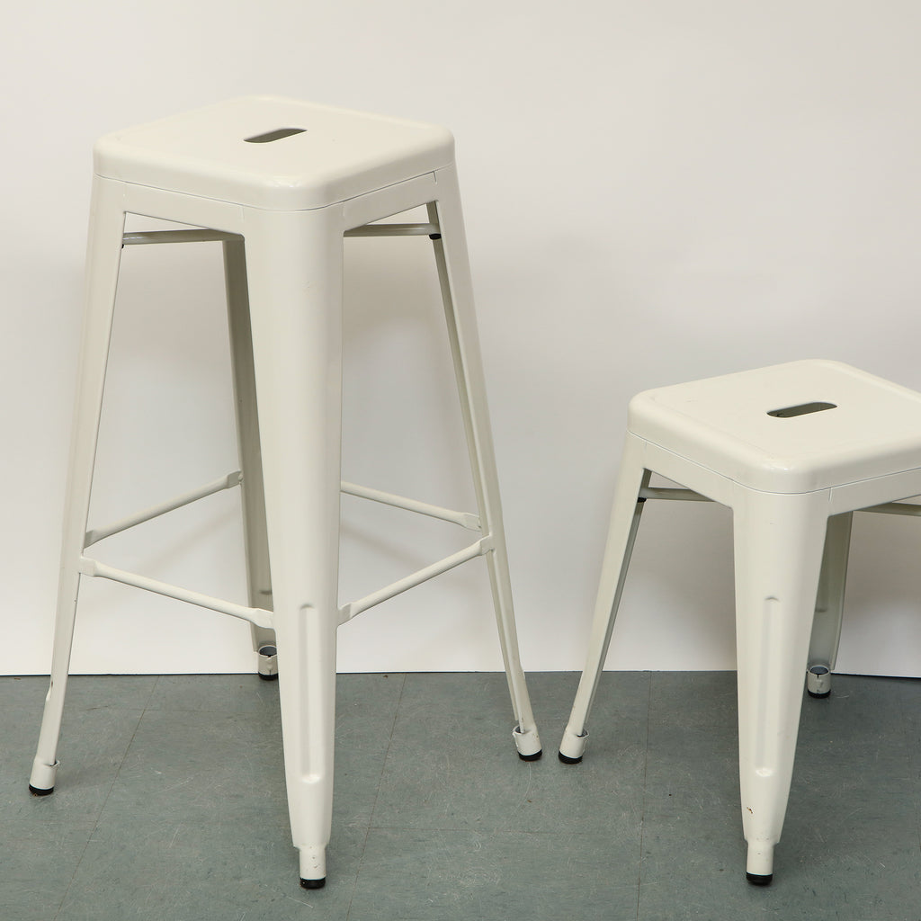 White Metal Tall Stool