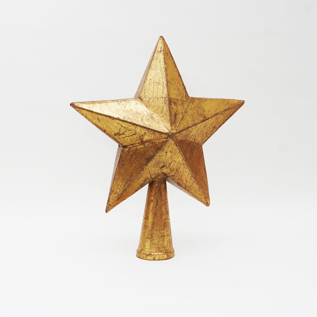 "12"" Antique Metallic Five Pointed Star tree topper"