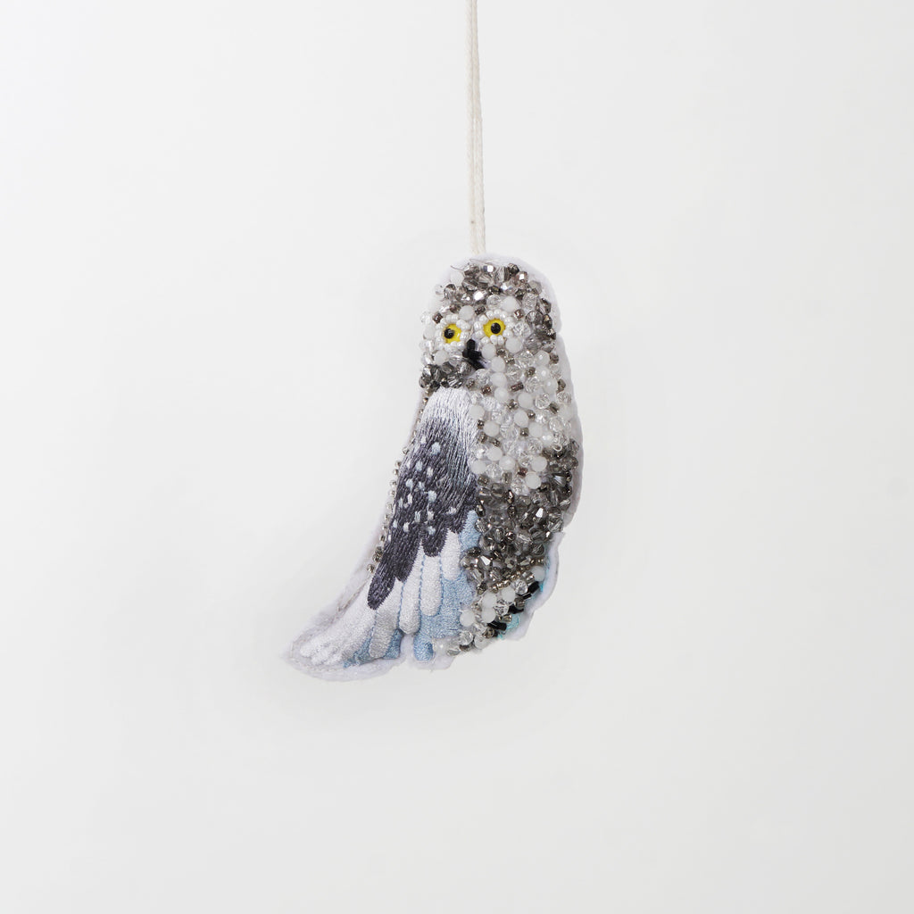 Beaded Winter Forest Owl Ornament