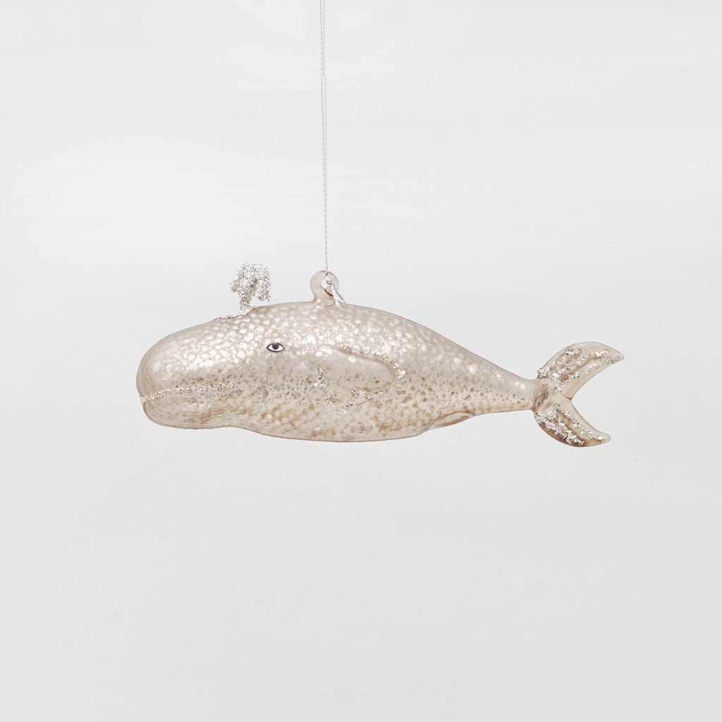 Assorted Victorian shimmery whale glass ornament