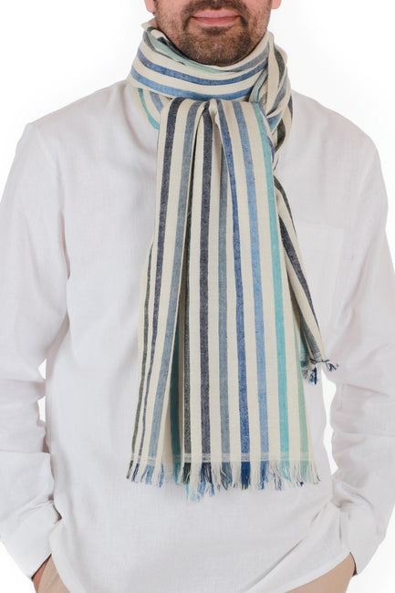 Kashmir Loom Hand Woven Opera Cashmere Pashmina Mens Large Scarf Oceanic