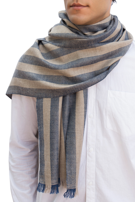 Kashmir Loom Hand Woven River Cashmere Pashmina Mens Scarf Naval Natural