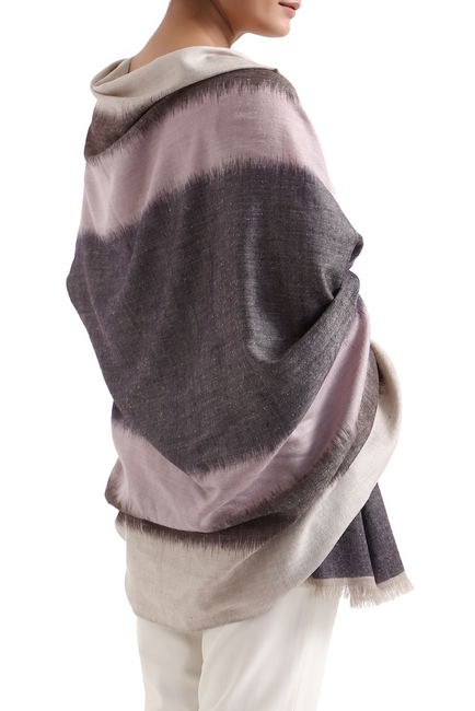 Rohan-Hand-Woven-Cashmere-Shawl-Driftwood-Pink-Night-Loom
