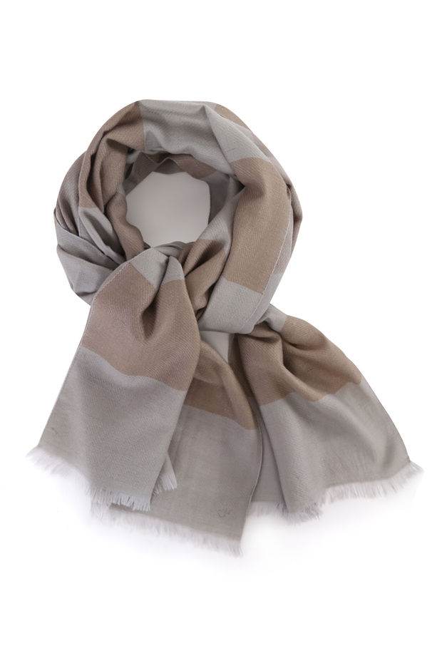 Kashmir Loom Hand Woven Snowdon Cashmere Pashmina Striped  Mens Scarf Taupe Cashmere