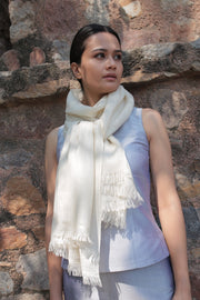 Kashmir Loom Hand Woven Solid Cashmere Pashmina Womens Stole and Shawl Ivory