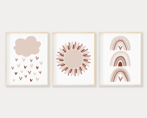 Neutral and Pink Cloud Raining Hearts Sunshine and Rainbows Printable Wall Art Set of 3, Digital Download
