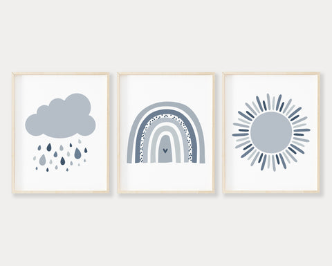 Blue Cloud, Sun and Modern Rainbow Printable Wall Art Set of 3, Digital Download
