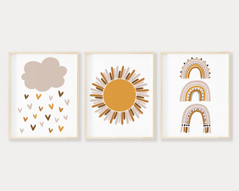 Earth Tone Cloud Raining Hearts, Golden Sun and Modern Boho Rainbow Printable Wall Art Set of 3, Digital Download