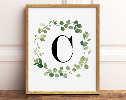 Greenery Letter C Printable Wall Art, Digital Download
