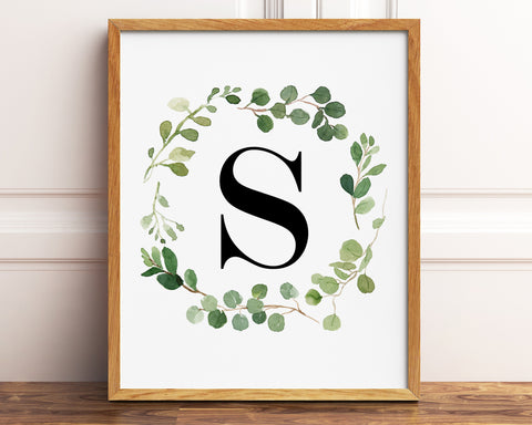 Greenery Letter S Printable Wall Art, Digital Download