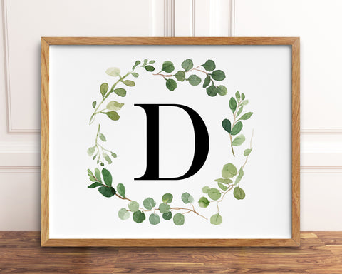Horizontal Greenery Letter D Printable Wall Art, Digital Download