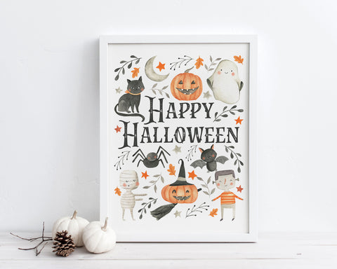 Happy Halloween Printable Wall Art, Digital Download