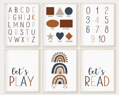 Navy Blue Alphabet Numbers and Shapes Printable Wall Art Set of 6, Digital Download