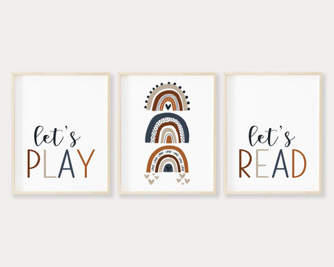 Navy Blue Let's Play Let's Read Rainbow Printable Wall Art Set of 3, Digital Download