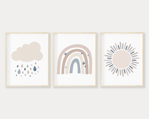 Neutral Cloud, Sun and Modern Rainbow Printable Wall Art Set of 3, Digital Download