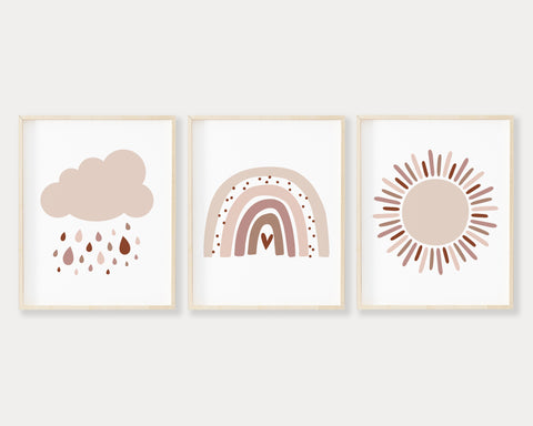 Neutral and Pink Cloud, Sun and Modern Rainbow Printable Wall Art Set of 3, Digital Download