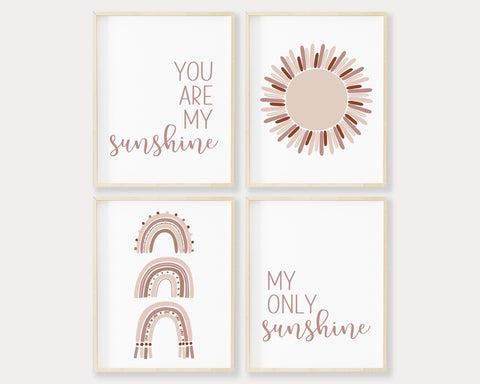 You Are My Sunshine My Only Sunshine Neutral Pink Rainbow Printable Wall Art, Digital Download