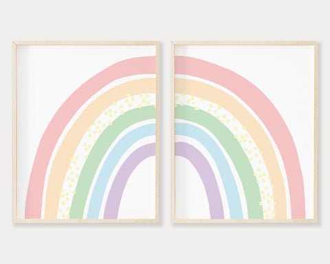 Pastel Rainbow Printable Wall Art Set of 2, Digital Download