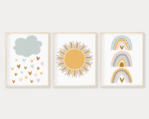 Blue Cloud Raining Hearts, Yellow Sun and Boho Pastel Rainbow Printable Wall Art Set of 3, Digital Download