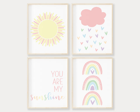 Pastel Rainbow You Are My Sunshine Printable Wall Art Set of 4, Digital Download