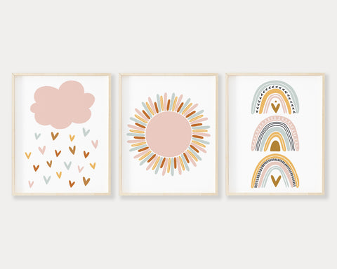 Pink Cloud Raining Hearts, Pink Sun and Boho Pastel Rainbow Printable Wall Art Set of 3, Digital Download