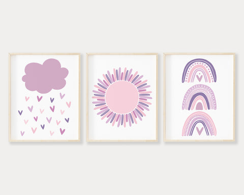 Purple Cloud Raining Hearts, Purple Sun and Boho Pastel Rainbow Printable Wall Art Set of 3, Digital Download