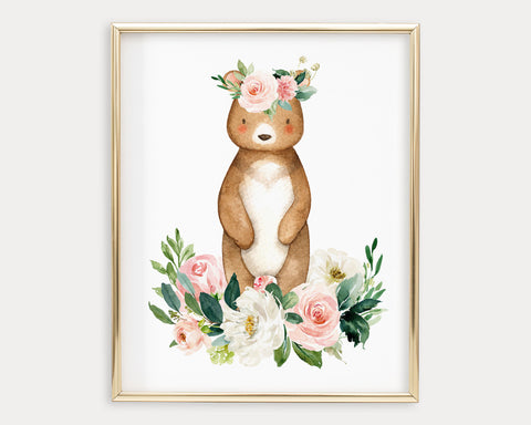 Watercolor Boho Flower Crown Bear Printable Wall Art, Digital Download