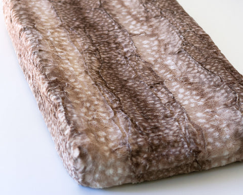 Fawn Minky Changing Pad Cover, Faux Deer Fur Change Mat Cover