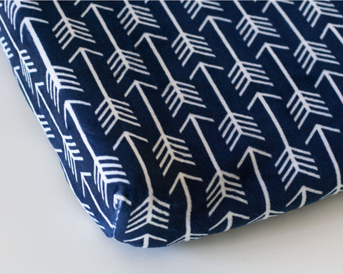 Navy Arrow Minky Changing Pad Cover