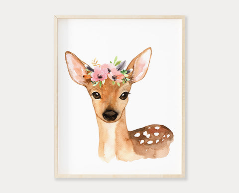 Watercolor Floral Crown Deer Printable Wall Art, Instant Digital Download