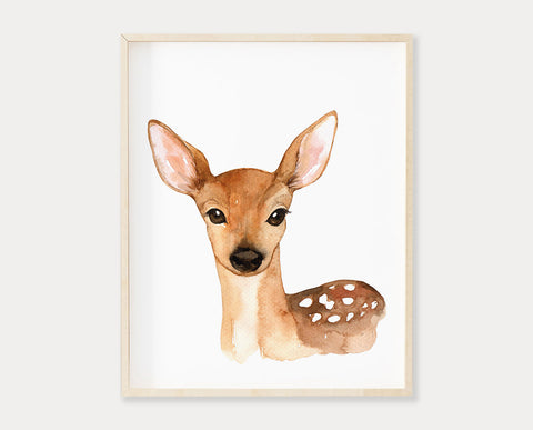 Watercolor Deer Printable Wall Art, Digital Download