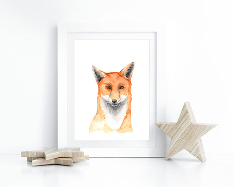 Watercolor Fox Printable Wall Art, Instant Digital Download