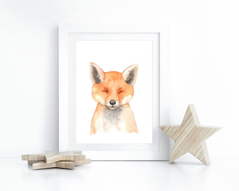 Watercolor Baby Fox Printable Wall Art, Instant Digital Download