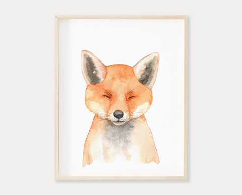 Watercolor Baby Fox Printable Wall Art, Digital Download