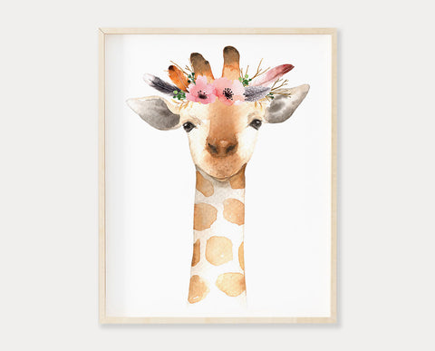 Watercolor Flower Crown Giraffe Printable Wall Art, Digital Download